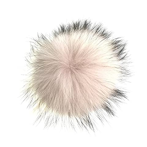 Natural Raccoon Fur Ball PomPom Winter Hats Bag Accessories With Buttons - Winter Ball Natural