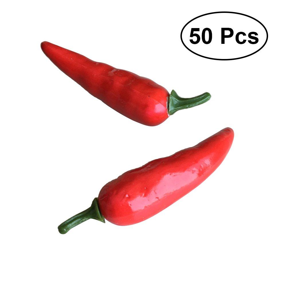 WINOMO 50pcs simulazione artificiale Chili falso peperone vegetale Mini falso vegetale per la decorazione della cucina di casa