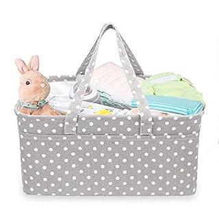 Portable diaper caddy organizer grey | baby caddy organizer | diaper basket organizer | trunk diaper caddy | baby basket gift | changing table organizer baskets