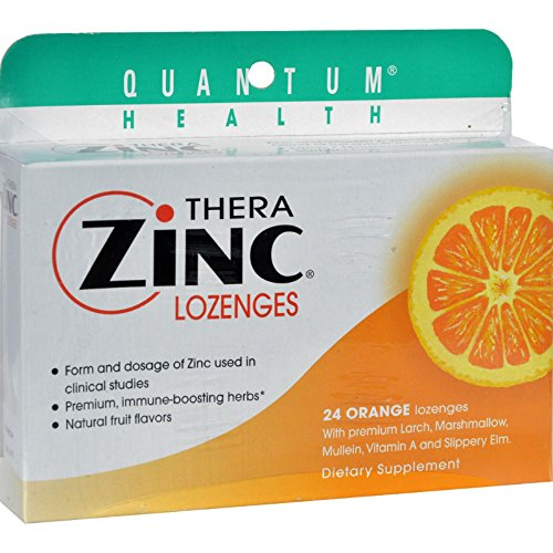 2Pack! Quantum TheraZinc Cold Season Plus Lozenges Orange - 14 mg - 24 Lozenges