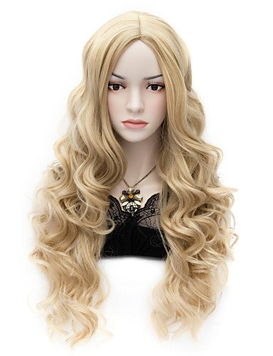 Convenient and simple pretty Movie Wig Long Charming Curly Cosplay Costume Full Heat resist Wig (Harley Quinn Costume Commission)
