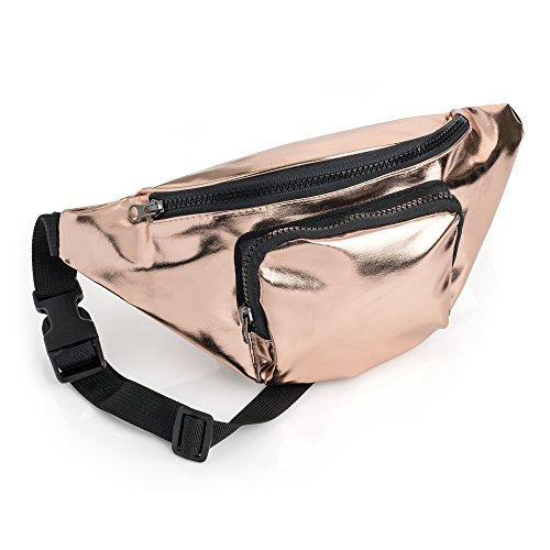 Price comparison product image Rose Gold Metallic Colour Bum Bag Fanny Pack Festivals Holiday Wear