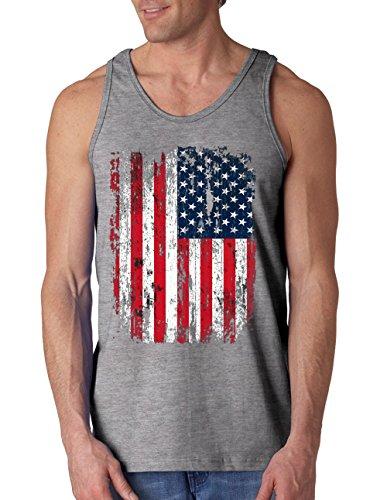 USA Flag - Fishing / Fisherman's Tank Top - Gray - L