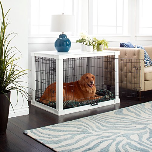 (Merry Products White Wooden Pet Kennel with Crate Cover White)