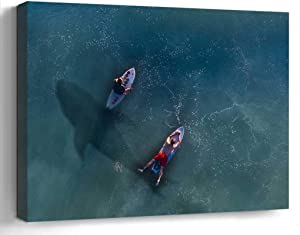 Wall Art Canvas Print Photo Artwork Home Decor (24x16 inches)- Hai Rowing Risk Paddle Board Surfer Water
