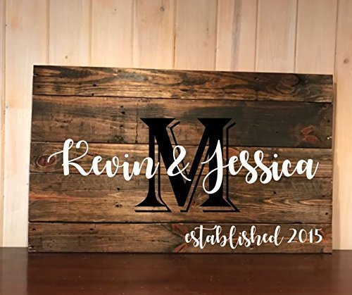 Family name and established pallet art, wall hanging, sign, home decor (Monogram Sawtooth)