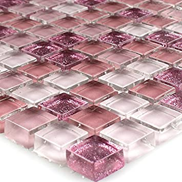 Glasmosaik Fliesen Pink Rosa Glitzer 15x15x8mm Amazon De Baumarkt