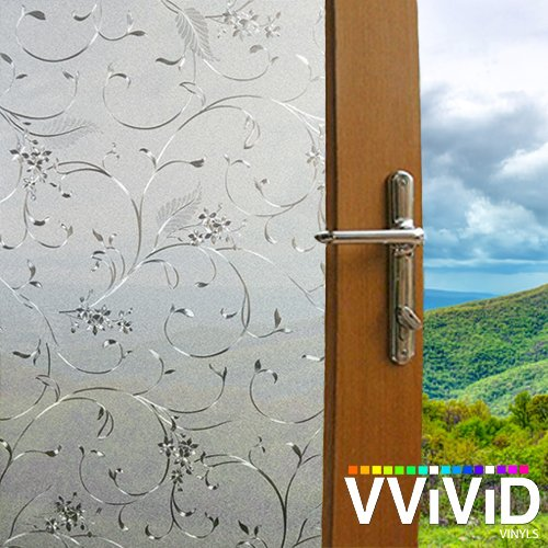 - VViViD Twining Flower Vine Floral Theme Static Cling Privacy Film Decorative Window Vinyl Decal for Bathroom, Kitchen, Home, Office Easy DIY Easy-Install Adhesive-Free (17.75