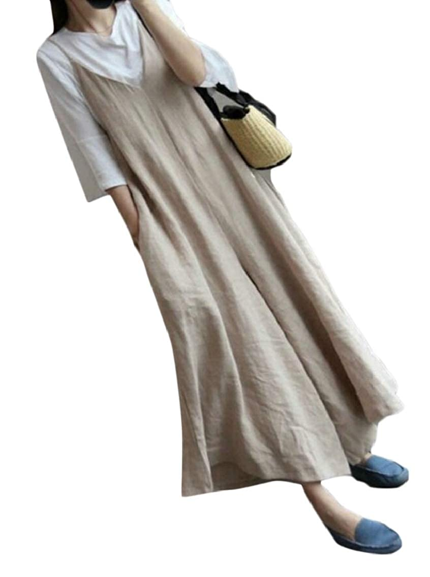 Hokny TD Womens Solid Cotton Linen Baggy Overalls Bib Pants Wide Leg Jumpsuit