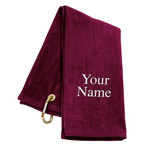 (Tri-Fold Personalized Golf Towel - Burgundy)