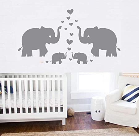cute baby shower gift boys elephant wall decal nursery reusable decor dark blue balloon stickers watercolor elephant art