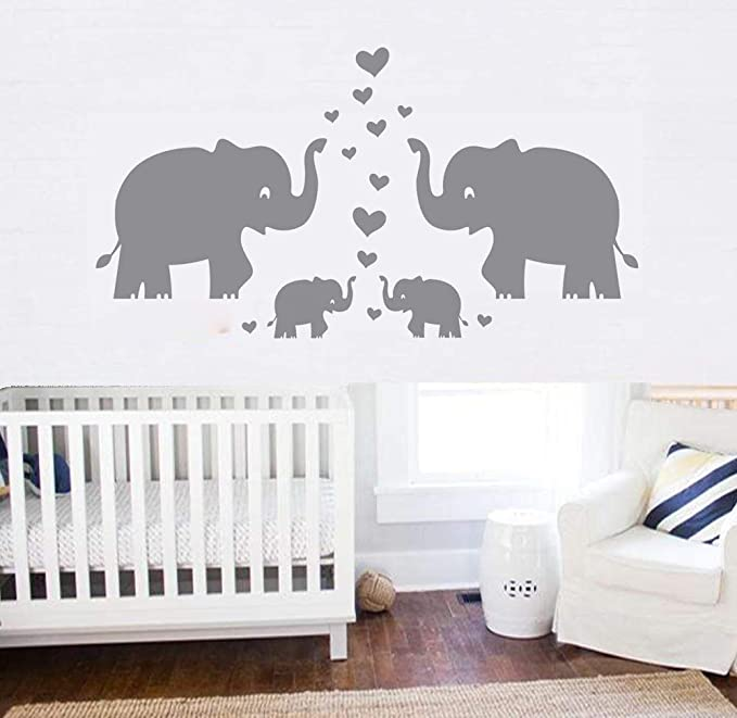 Nursery Wall Sticker,Animals Wall Decals with Butterfly Elephant and Colorful Balloon Flying,for Kids Bedroom Nursery Classroom Wall Decoration