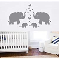 Elephant Wall Decal Family Wall Decal With Hearts and Butterfly Wall Decals Baby Nursery Decor Kids Room Wall Stickers…