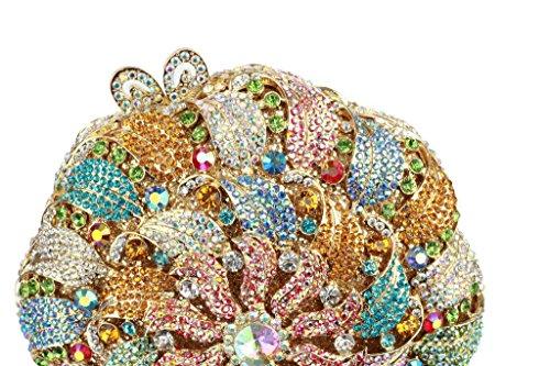 Yilongsheng Signore Cerchio Lucido Con Perline Borsa Da Sposa Con Diamanti (multicolor)