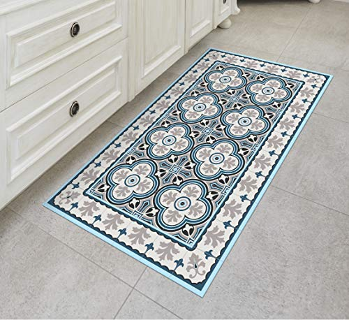 Tiva Design Lisbon Vinyl Floor Mat: Decorative Linoleum PVC Rug Runner Tile Flooring in 12 Choices, Colorful, Durable, Anti-Slip, Hand Washable, and Protects Floors 47.2