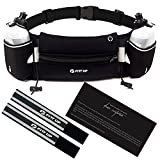 Hydration Running Belt with 2 water Bottles 10 oz BPA Free-Fits all Smartphones-For Running, Race, Marathon, Hiking, Cycling and Climbing-Waterproof Running Belt for Women and Men-Reflective Armband