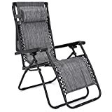 Grey Folding Zero Gravity Recliner Lounge Chair With Canopy Shade Magazine Cup Holder Foldable Design Patio Outdoor Garden Deck Yard Backyard Camping Picnic Pool Beach Décor Furniture UV-Resistant
