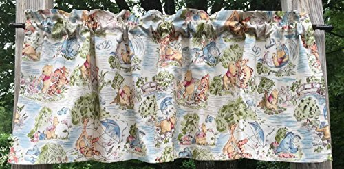 Winnie The Pooh Bear Park Flying Kites Beige/Tan Handmade White Cotton Lined Handcrafted Curtain Valance