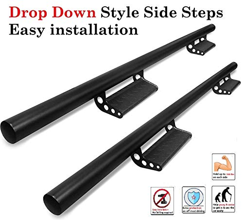 (Ajaa 2005-2019 Fit Toyota Tacoma Double Cab (4 Full Door) Black Drop Down Running Boards (Nerf Bars | Side Steps | Side Rails))
