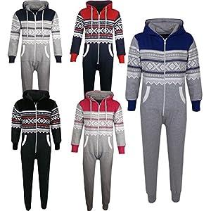 Kids Girls Boys Aztec Snowflake Print Hooded Onesie All In One Jumpsuit Age 5-13