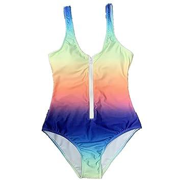 Bañador para Mujer Falda de una Pieza Rainbow Gradient Zipper ...