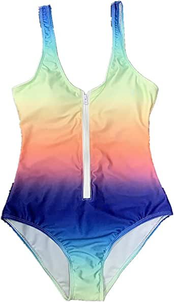 Women's Swimsuit One-Piece Skirt Rainbow Gradient Zipper