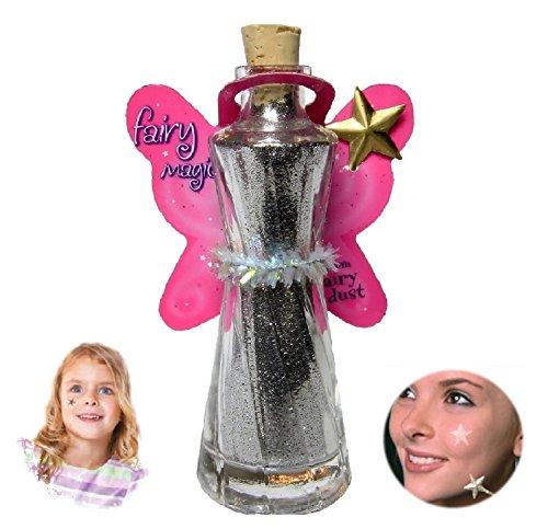 [Fairy Magic - Face & Body Glitter-Star Wand Applicator-Glitter Tatoo (Silver)] (Fairy Wing Tattoos)