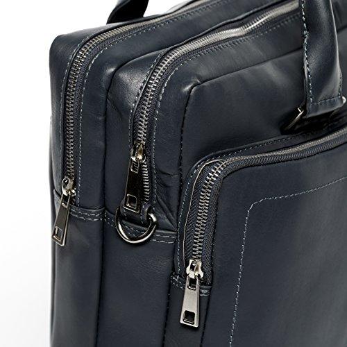 FERGÉ Borsa per laptop BETH - borsa a spalla XL adatto 15.4 portatile file - borsa a tracolla portatile vera pelle grigio