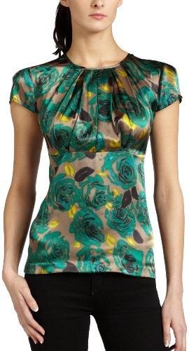 Mac & Jac Women's Rose Print Satin Blouse,Walnut Multi,X-Large