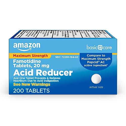 Amazon Basic Care Maximum Strength Famotidine Tablets, White, 200 Count