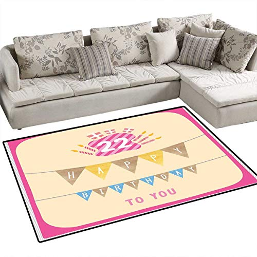 22nd Birthday Anti-Static Area Rugs Happy Birthday to You with Candies Cake and Candles Cute Design Print Children Kids Nursery Rugs Floor Carpet 36