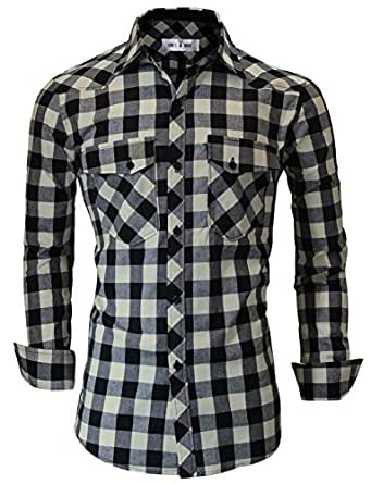 Tom's Ware Mens Classic Slim Fit Plaid Button Down Shirt TWNMS333S-BLACKBEIGE-US XXL