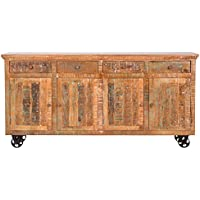 Yosemite Home Decor YFUR-SBA5162 Reclaimed Storage Console, Hand Painted Solid Mango Finish