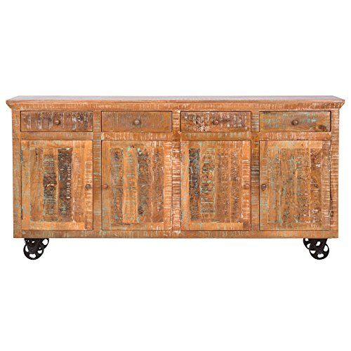 Yosemite Home Decor YFUR-SBA5162 Reclaimed Storage Console, Hand Painted Solid Mango (Hand Painted Console Cabinet)