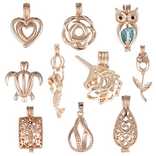 (SHUHONEY Oyster Pearl Cage Pendant for Jewelry Making - Rose Gold Aromatherapy Cage Pendant Bulk(Pack of 10))