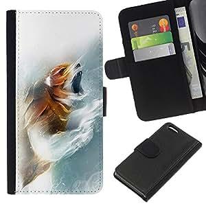 EJOY---La carpeta del tirón la caja de cuero de alta calidad de la PU Caso protector / Apple Iphone 5C / --Fox Rugido