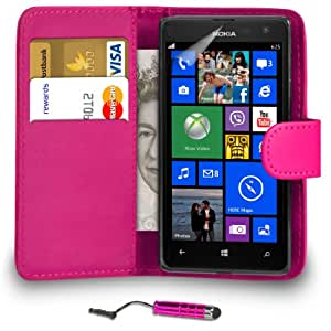 DMA Nokia Lumia 625 Hot Pink Cartera de cuero del caso del tirón de la cubierta Pouch + Mini Touch Stylus Pen + 2 x Protector de pantalla y paño de pulido