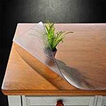NECAUX Custom Multisize 1.5mm Thick Frosted PVC Table Cover Protector - 36 x 78 Inch Kitchen Wood Grain Vinyl Transparent Table Protector Plastic Protective Dining Room Table Pad