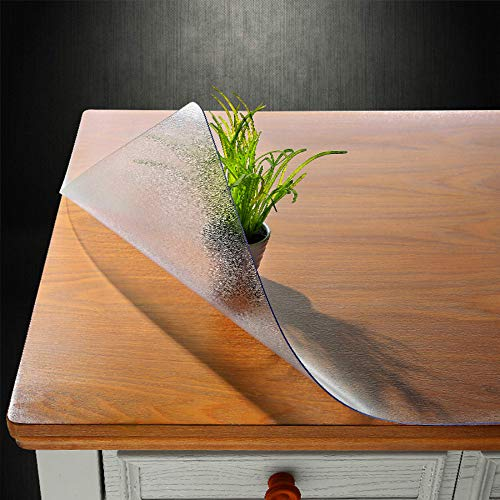 NECAUX Custom Multisize 1.5mm Thick Frosted PVC Table Cover Protector - 46 x 110 Inch Kitchen ECO Plastic Crystal Protective Table Pad for Large Dining Room Table/Meeting Table