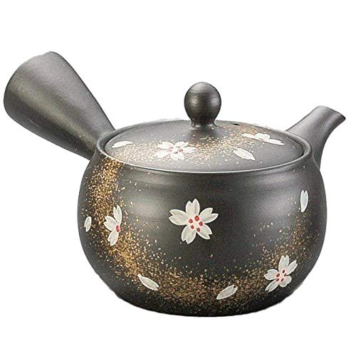 Yamakiikai Black Kyusu(Japanese teapot) Japanese White Flowers with Gold lines pattern with a strainer 280cc M719 from Japan