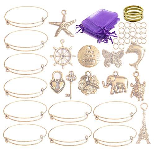 ChangJin 10PCS/Set Antiqued Gold Metal Expandable Wire Charms Bangle Bracelets Gift Bags Making Kit for Girl Boy Women (Wire Bracelet Charms)