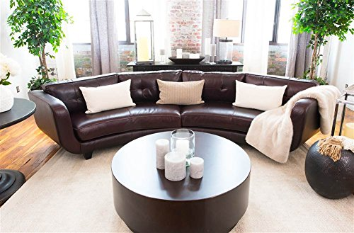 Elements Fine Home Furnishings Delano Top Grain Leather Sectional Sofa, Cappuccino - Delano Leather