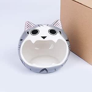 RONSHIN New Pet Ceramic Nest Big Mouth Kitten Porcelain Fossa for Hamster Guinea Pig Hamster Gray 17 * 17 * 17cm
