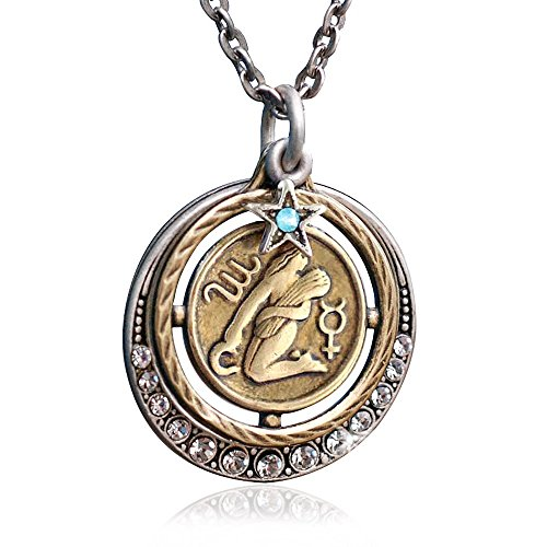 Sweet Romance Virgo Zodiac Sign Astrology Pendant Necklace - August and September Birthday Gifts -
