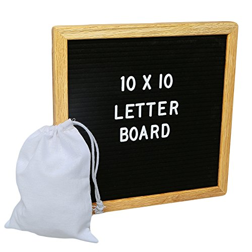 Felt Letter Board 10x10 Oak Frame with 300 Changeable Letters, Numbers and Punctuation and Wall Mounting Bracket and Canvas Storage Bag - Announcement Sign