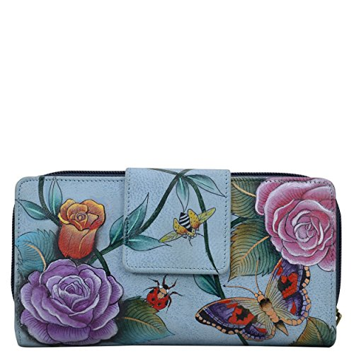 Anuschka Hand Painted Leather| Women's Organizer Clutch Wallet | Roses d'Amour