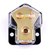 LEIGESAUDIO Copper 0/2/4 Gauge in 4/8/10 Gauge Out Amp Power Distribution Block for Car Audio Splitter (1 in 2 Out)