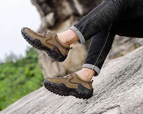 In Autunno Uomo Arrampicata Per Dark Casual Brown Cachi Uomo Scarpe Esterno Colore Pelle Slip Inverno on Dimensione Arrampicata Da Trekking Viaggio 44 qwXx6p0