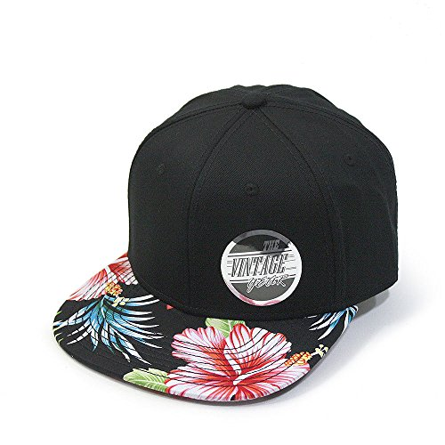 Structured Cotton Twill Baseball Cap (Premium Floral Hawaiian Cotton Twill Adjustable Snapback Hats Baseball Caps (Hawaiian/Black/Black Flat))