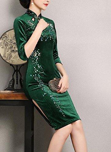 Confortables Femmes Velours Or Vert Fendu Prime Robe Crayon Cheongsam Traditionnel